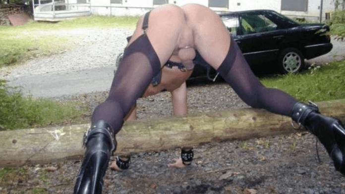 Sissy slut having gay dogging sex