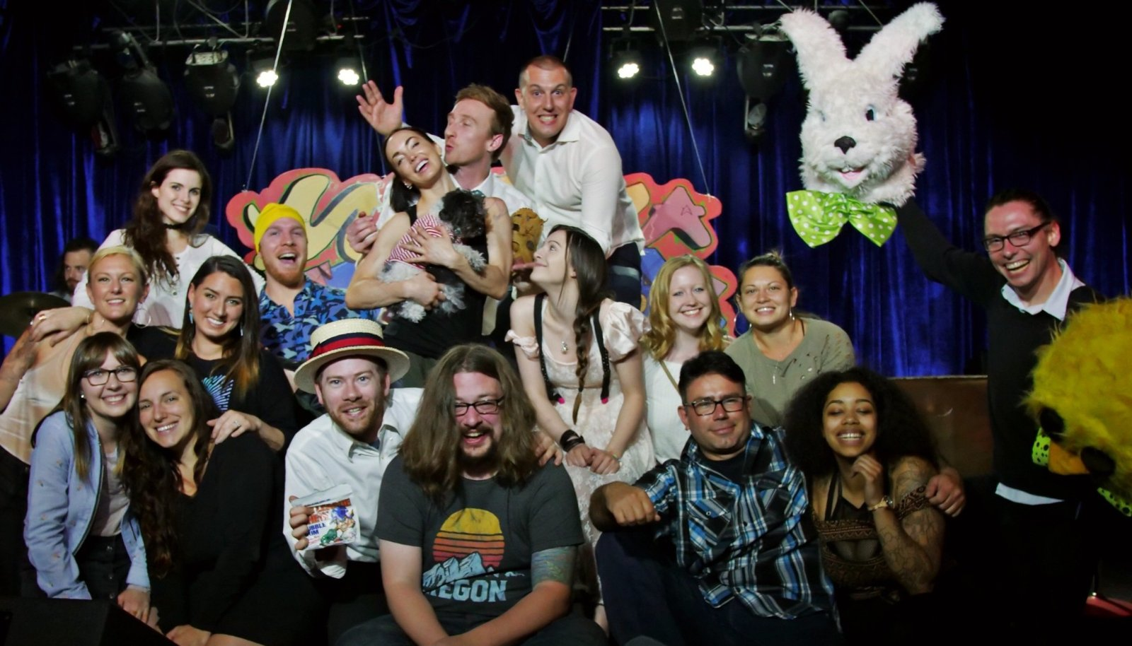 """group photo """"Who's the Ross?"""" Aaron Ross comedian comedy humor funny Portland PDX late-night talk show live Dante's"""