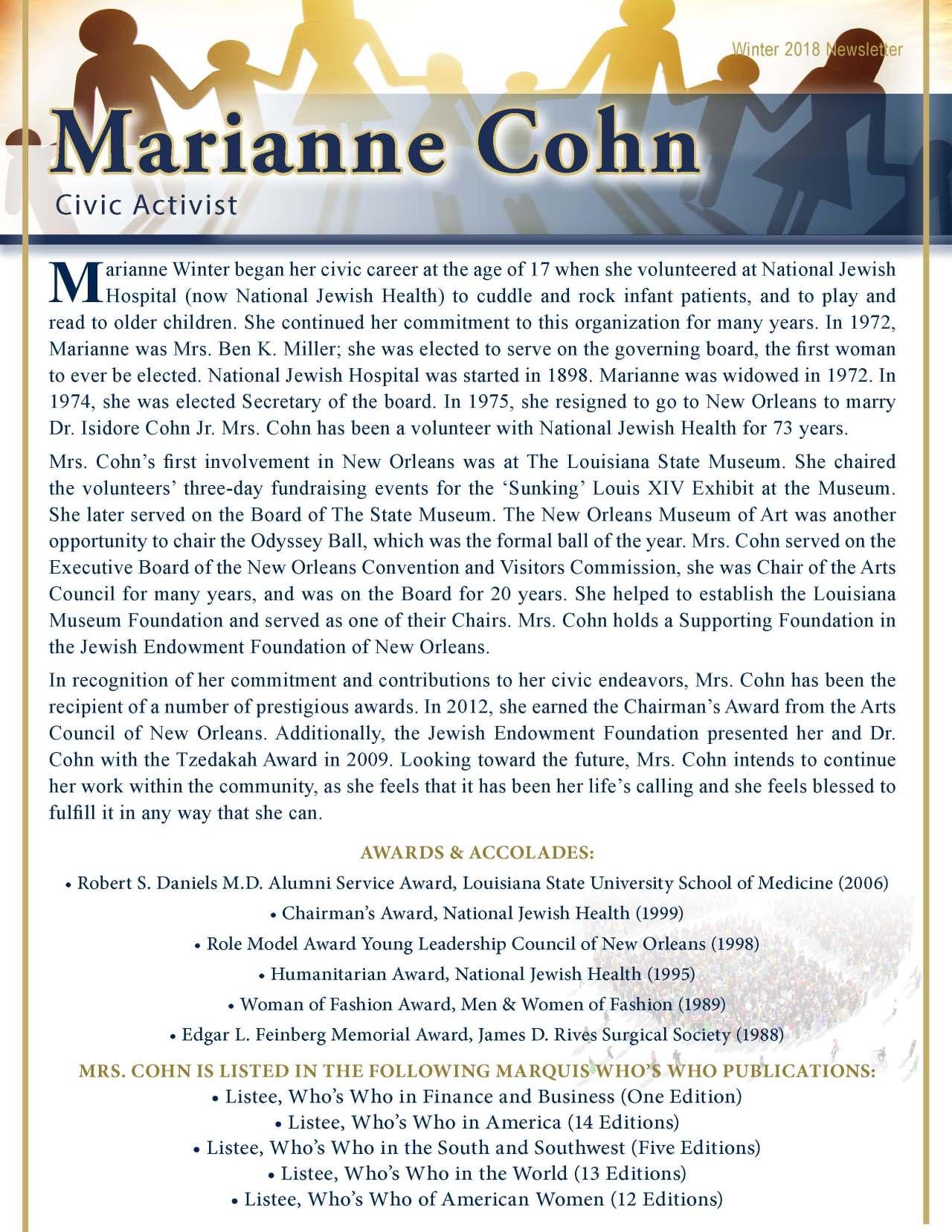 Cohn, Marianne 2189080_17194317 Newsletter REVISED