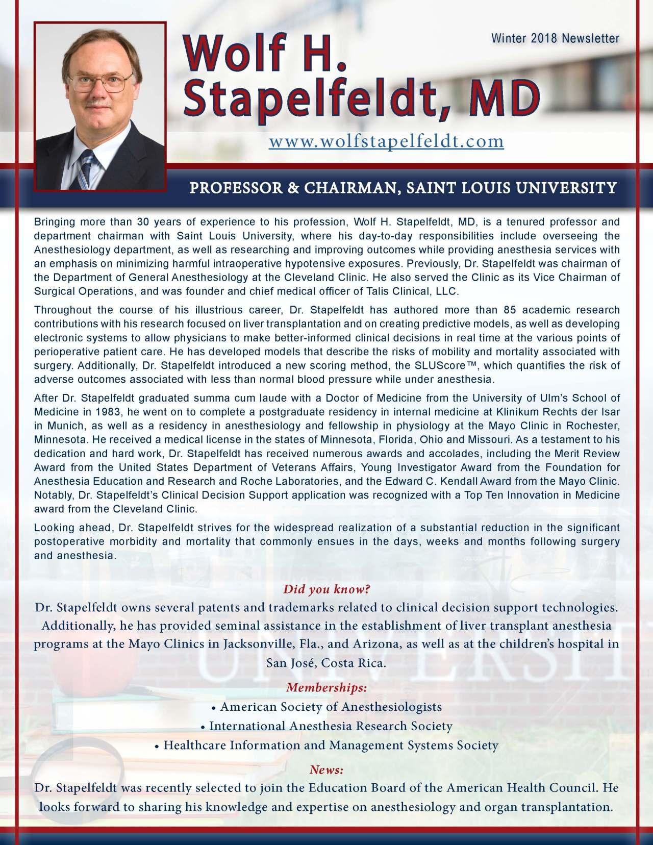 Stapelfeldt, Wolf 3681015_4003681015 Newsletter REVISED