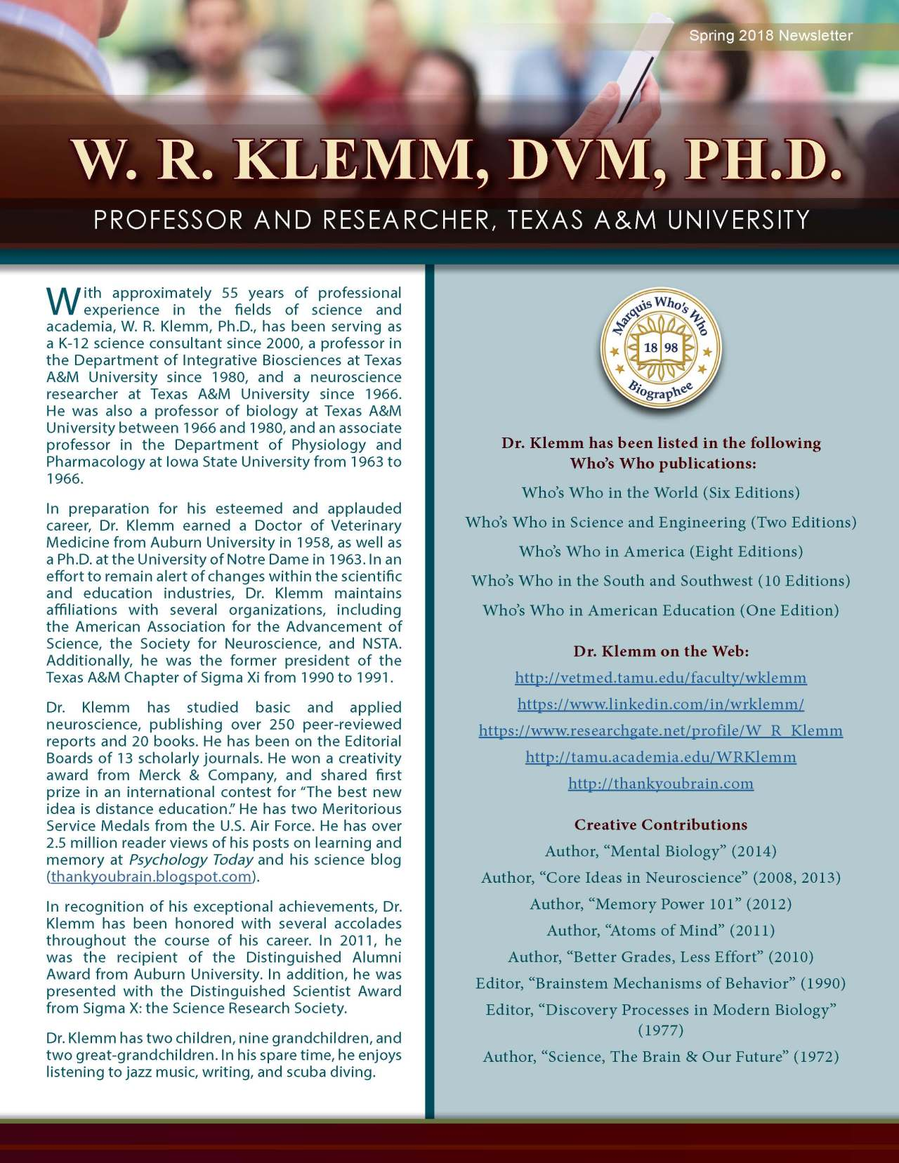 Klemm, W.R. 3707867_18931105 Newsletter REVISED