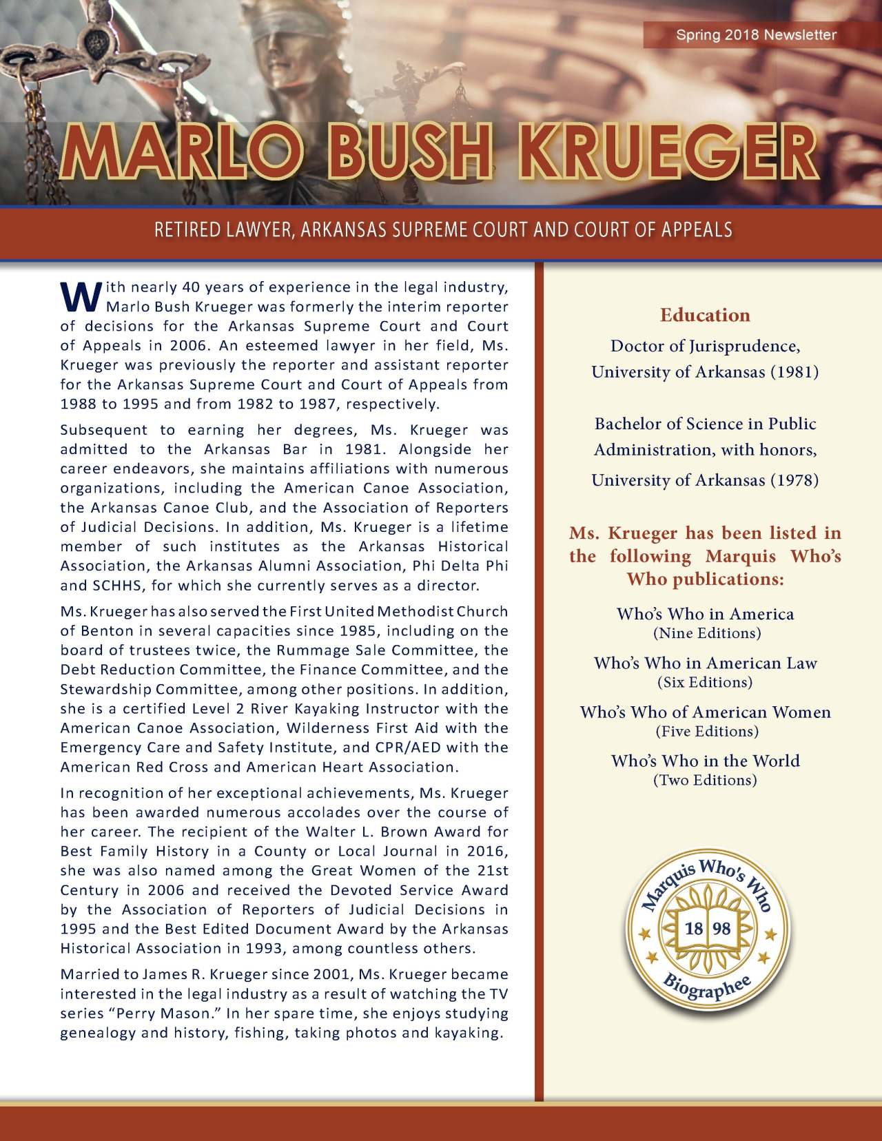 Krueger, Marlo 3713534_30713313 Newsletter REVISED