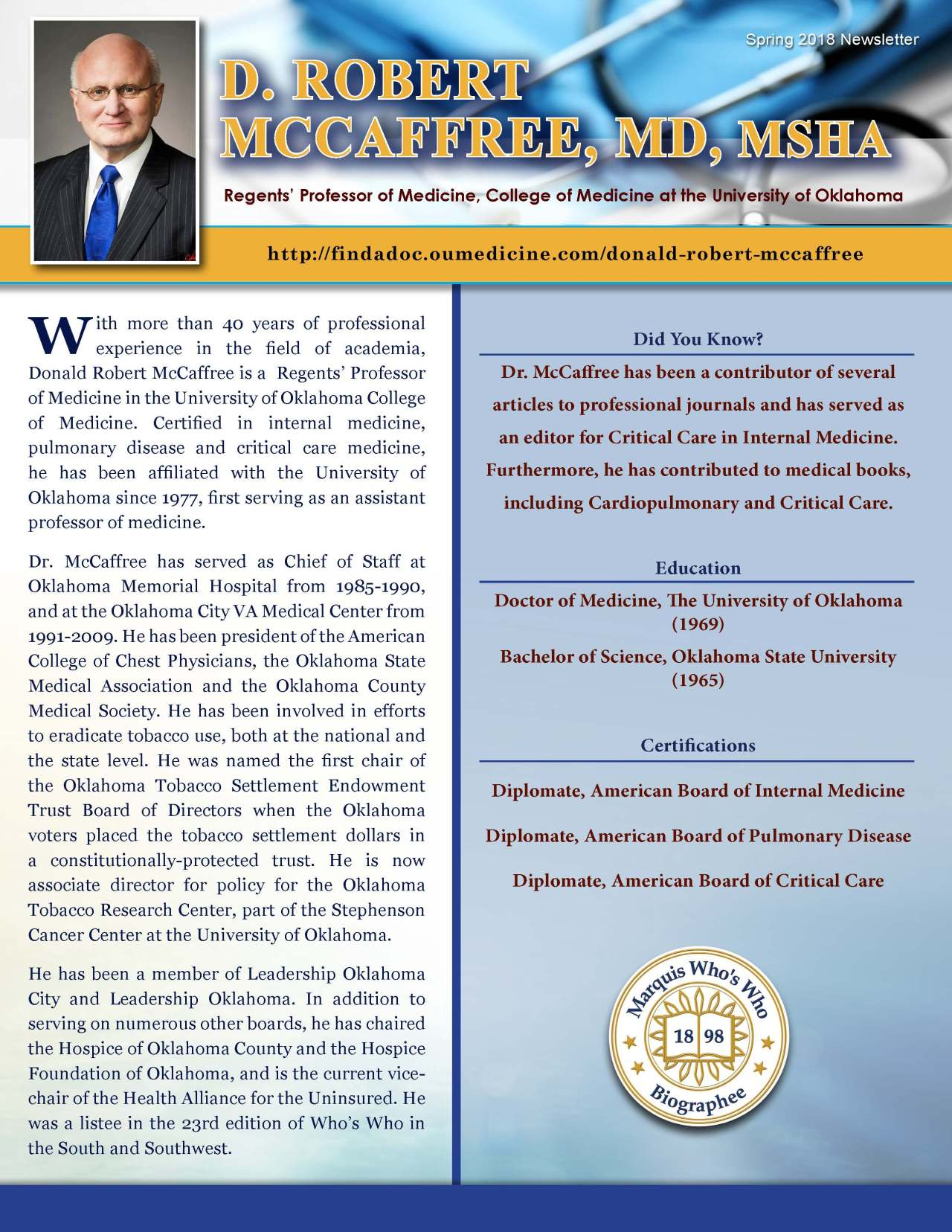 McCaffree, Donald 3703520_21853255 Newsletter REVISED