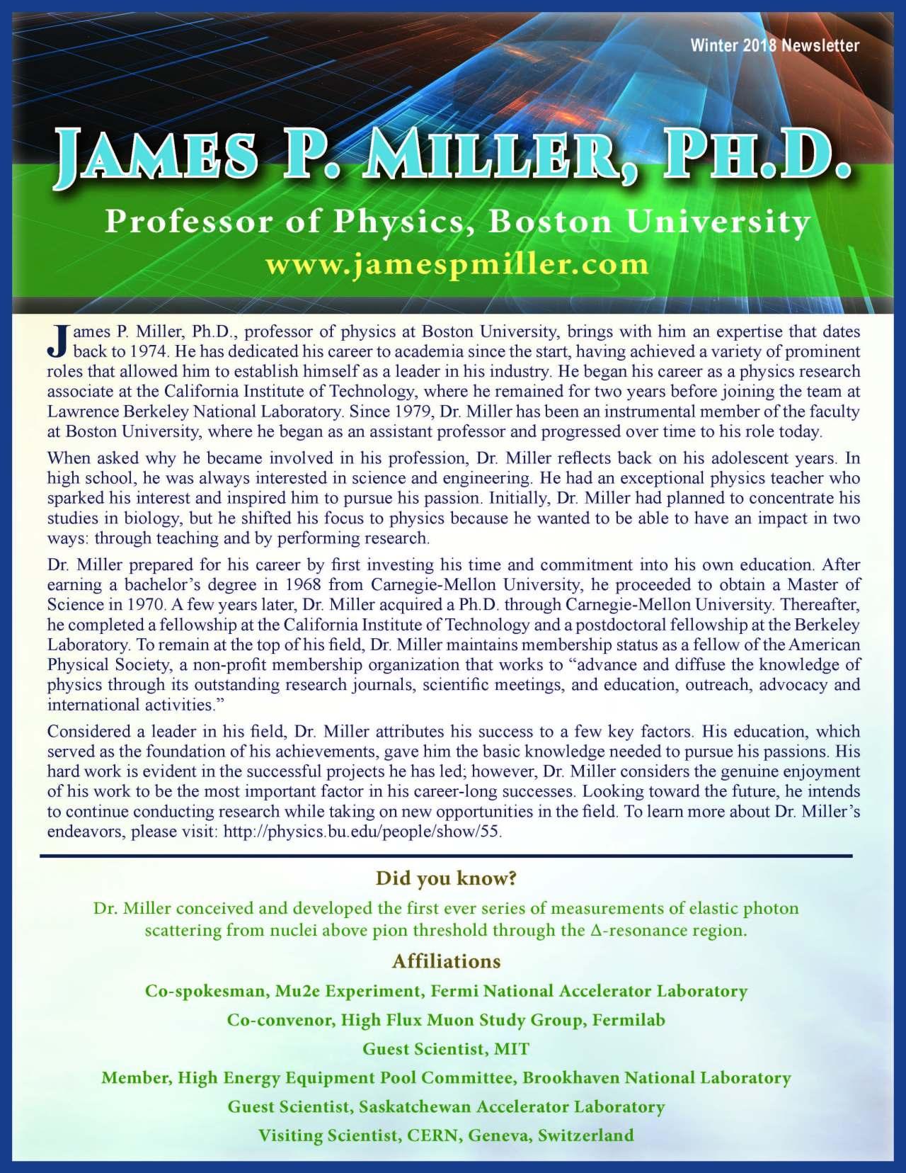 Miller, James 3701659_4003701659 Newsletter