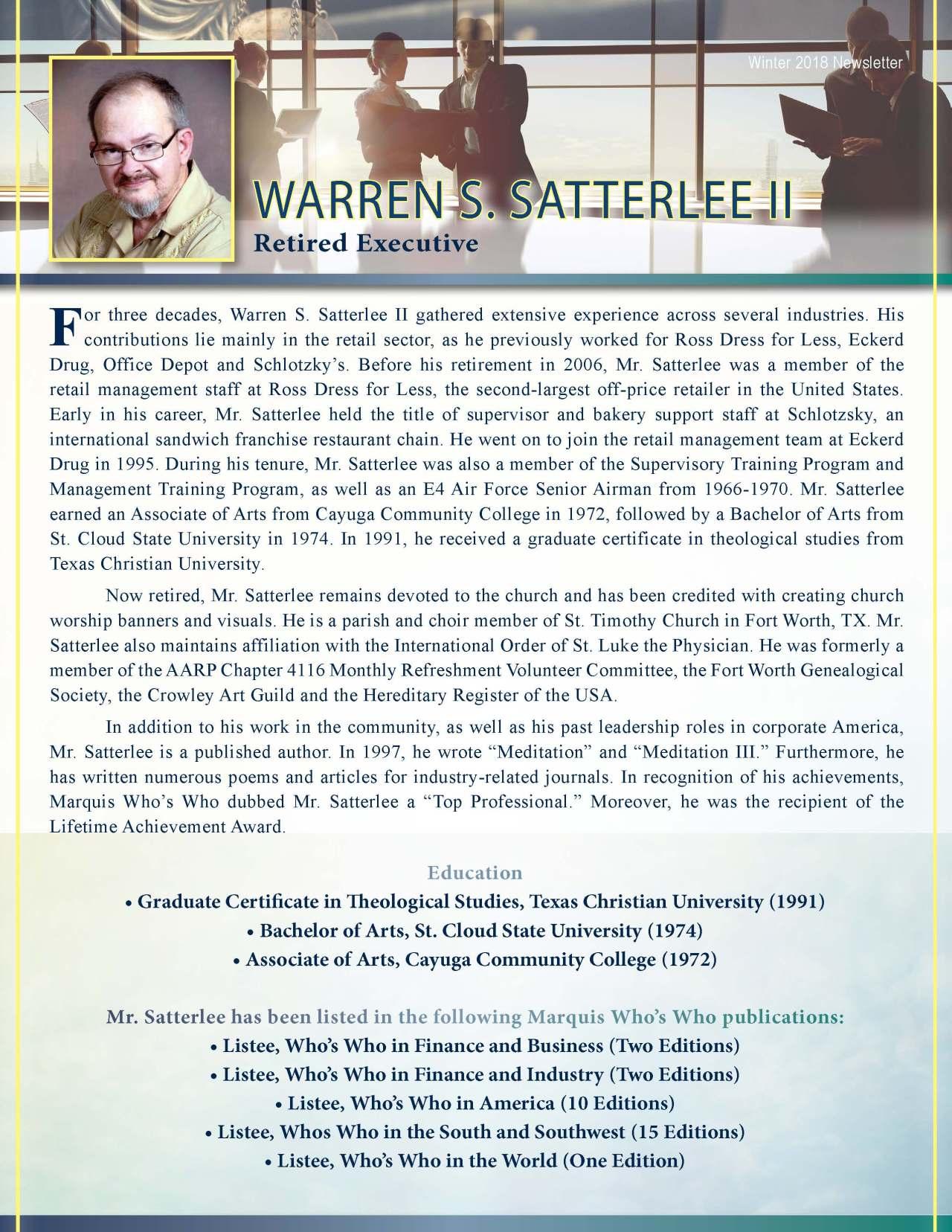 Satterlee, Warren 2188690_27619378 Newsletter REVISED