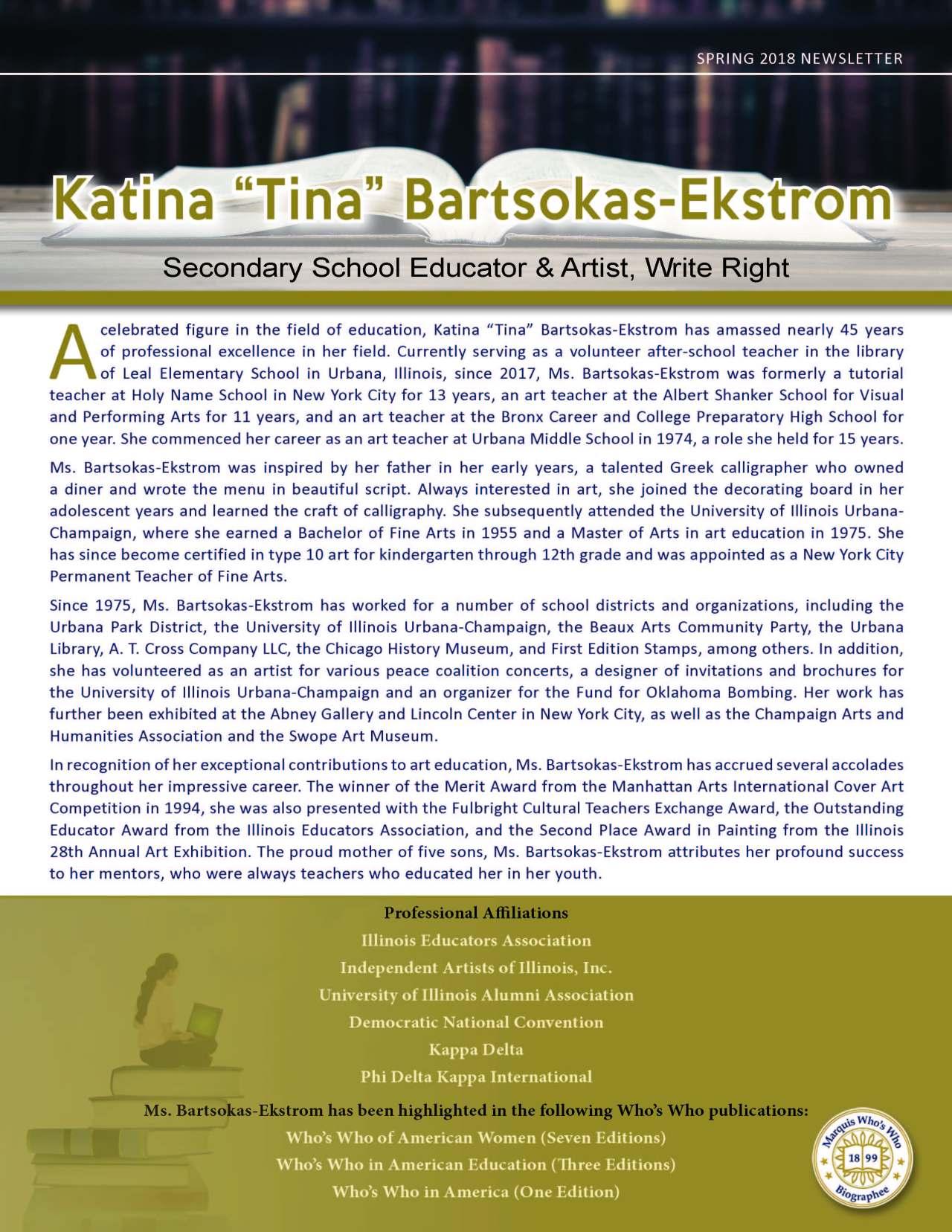 """Katina """"Tina"""" Bartsokas-Ekstrom"""