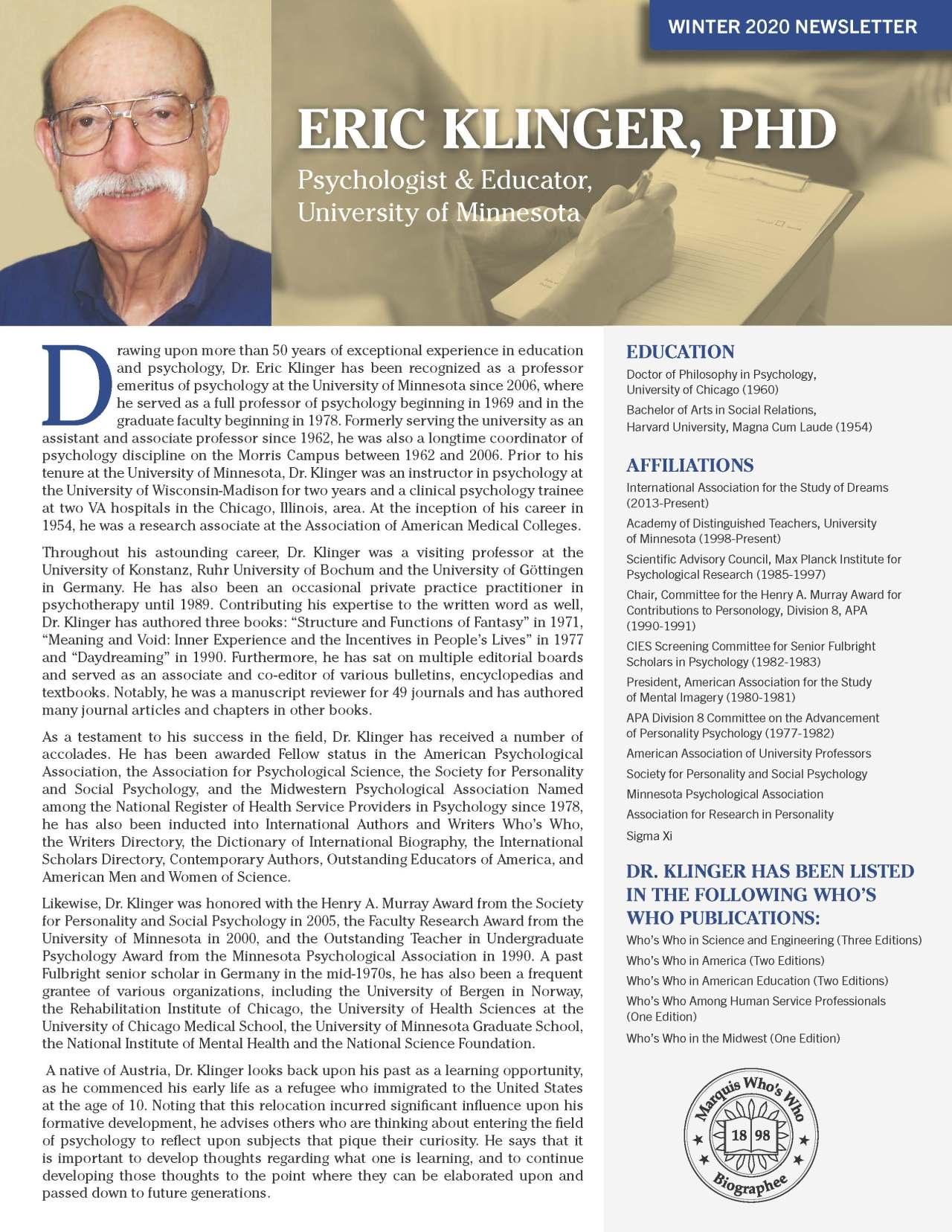 Klinger, Eric 4114397_20372462 Newsletter