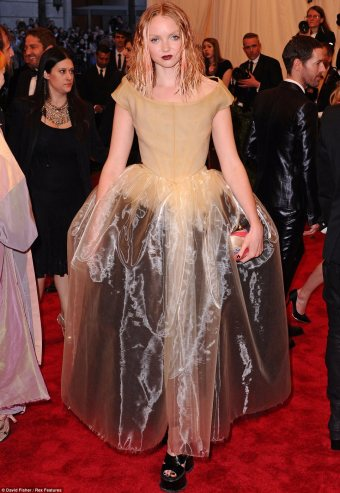 Looks like a Tim Burton rag doll. Lilly Coles a bit of a wash out in Vivienne Westwood
