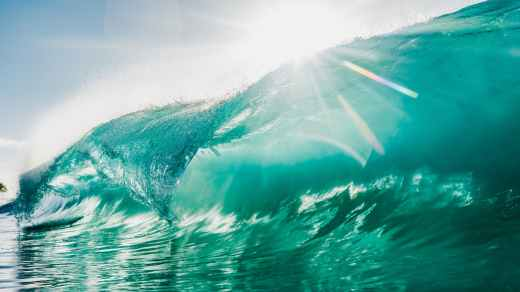 high bright wave rolling on sea