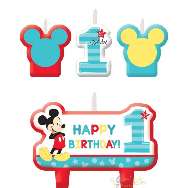 mickey mouse 1st birthday candles set of 4 mickey mouse 1st birthday party supplies who wants 2 party