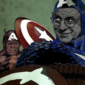 Captains America Dick Cheney and Donald Rumsfeld, rigged to self-destruct. By Mr. Fish