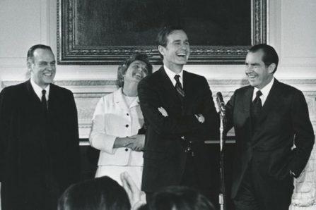Justice Potter Stewart, Barbara Bush, George H.W. Bush and Richard Nixon.