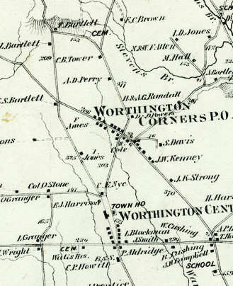 Location shown on historical map