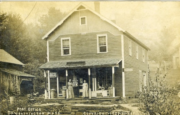 "1908 postcard of the South Worthington store built in 1882 and run by the Witherells. The woman on the left is likely to be Isabella ""Lizzie"" Witherell, who was then 67 or 68."