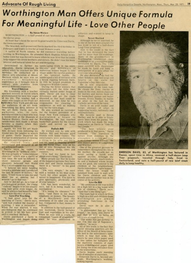 Profile of Emerson Davis in the Daily Hampshire Gazette, March 25, 1971.
