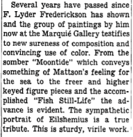 """Excerpt from """"Among the New Exhibitions,"""" by Howard Devree, New York Times, October 22, 1944."""