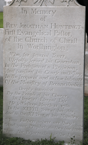 Gravestone of Jonathan Huntington.