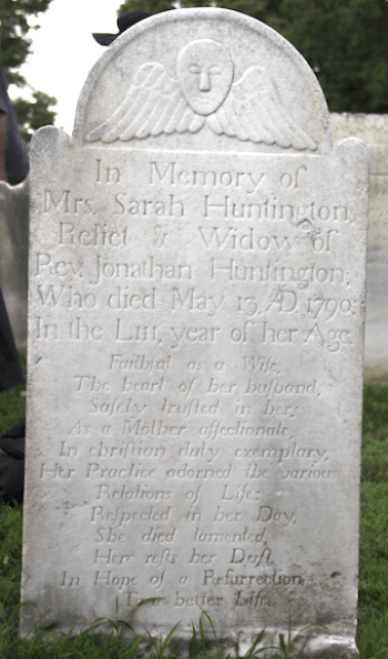 Gravestone of Sarah Huntington.
