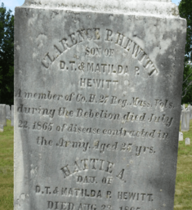 Gravestone of Clarence P. Hewitt, Center Cemetery, Worthington.