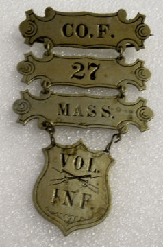 Ladder badge for 27th Mass. Regiment.