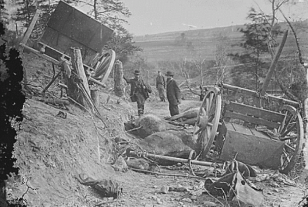 Damage to the 2nd Mass. Heavy Artillery from a Confederate attack.