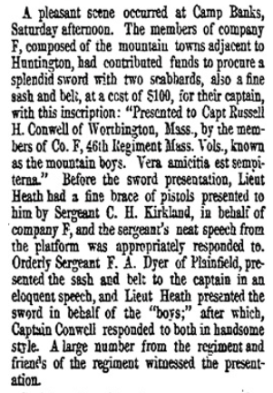 Newspaper item on sword presentation to Conwell.