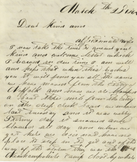 James Thayer's 1864 letter to his wife, first page.