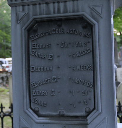 Memorial to seven of Horace Cole's children who died young.