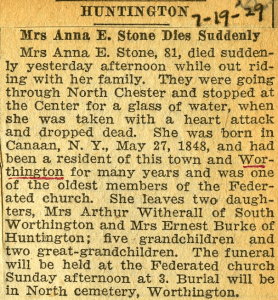 Death notice for Anna Huyck Stone.