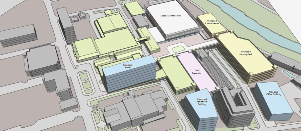 Classic Center Arena Project Design Shines Light on the Drastic Changes Poised for East Downtown Athens Rendering 1