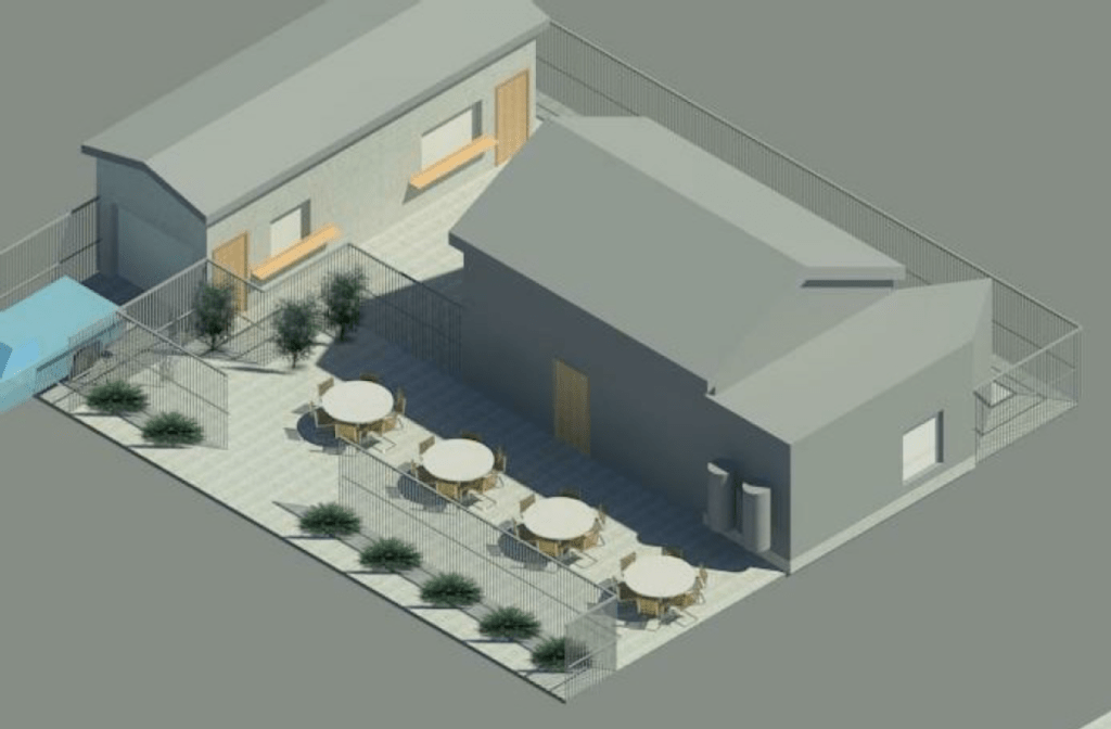 An artist's rendering of the future barbecue restaurant.