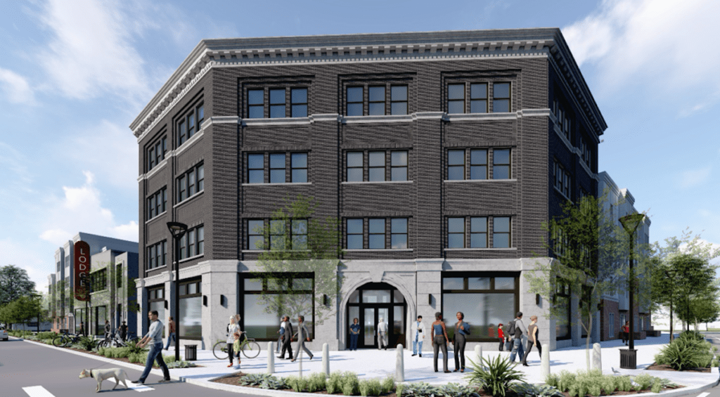 Rendering of the new office building planned for the corner of Moreland Avenue and Glenwood Avenue. The building has the opportunity for anchor tenant signage