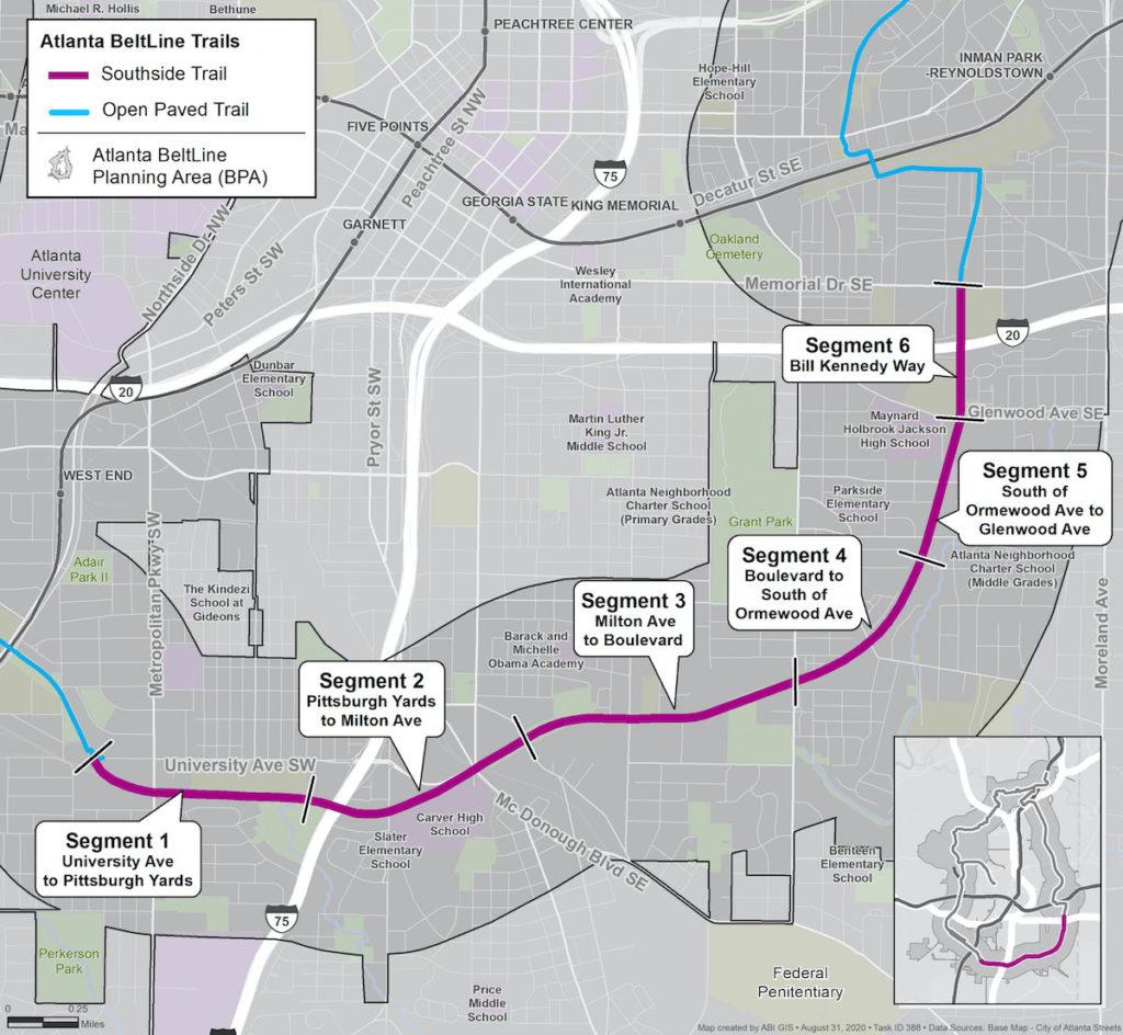ABI Project Map Southside Trail Segments