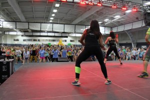 Zumba instructors keep the crowd at HuskyTHON energized throughout the evening.