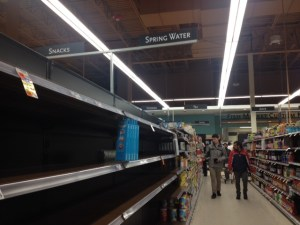 "The ""spring water"" shelves were cleared out by 4 p.m. on Monday. (Photo by Sylvia Cunningham)"