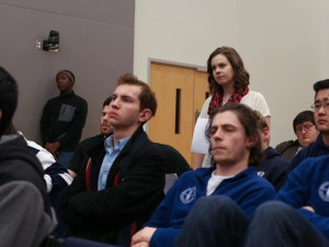 Senator Eliza Conrad asks Tyler Williams a question regarding the legislation. (Photo by Charlie Smart)
