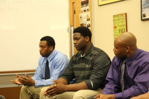 From left, Jordan Floyd, Folorunso Fatukasi and Marquise Vann speak at the Behind the Face Mask panel. (Photo by Danielle Chaloux)