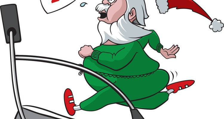 A cartoon Santa who has packed on the pounds over the holidays and needs to lose some weight. Vector and high resolution raster files available.