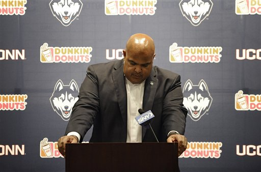 Former Connecticut Athletic Director Warde Manuel speaks during an NCAA college football news conference. (AP Photo/Jessica Hill)