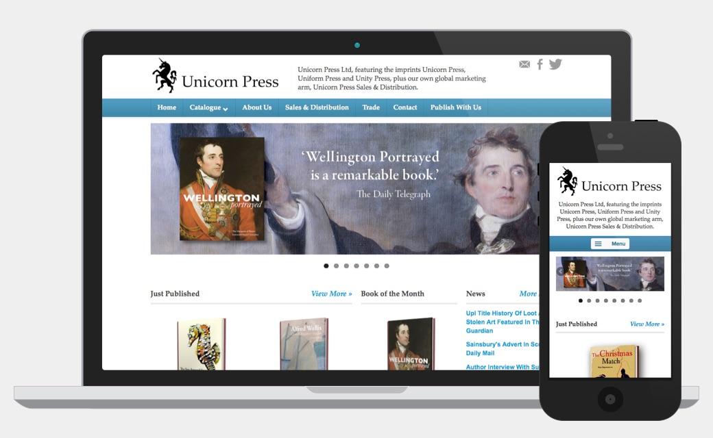 Responsive website design for Unicorn Press