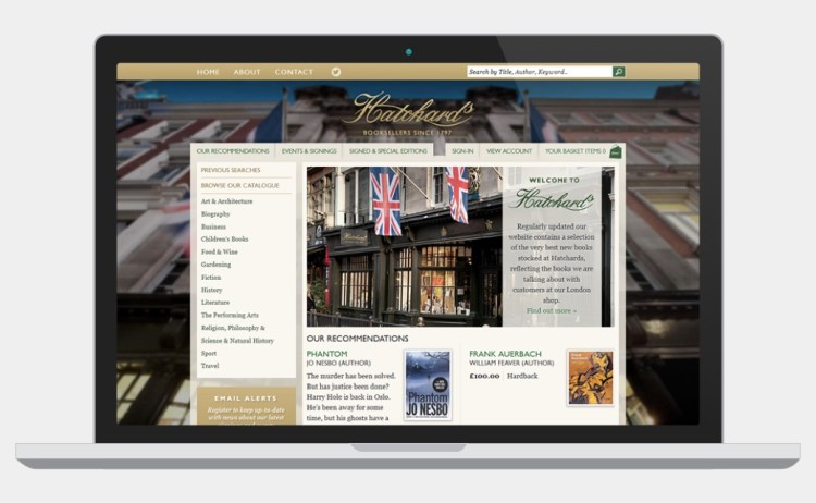 Hatchards Bookshop website screenshot
