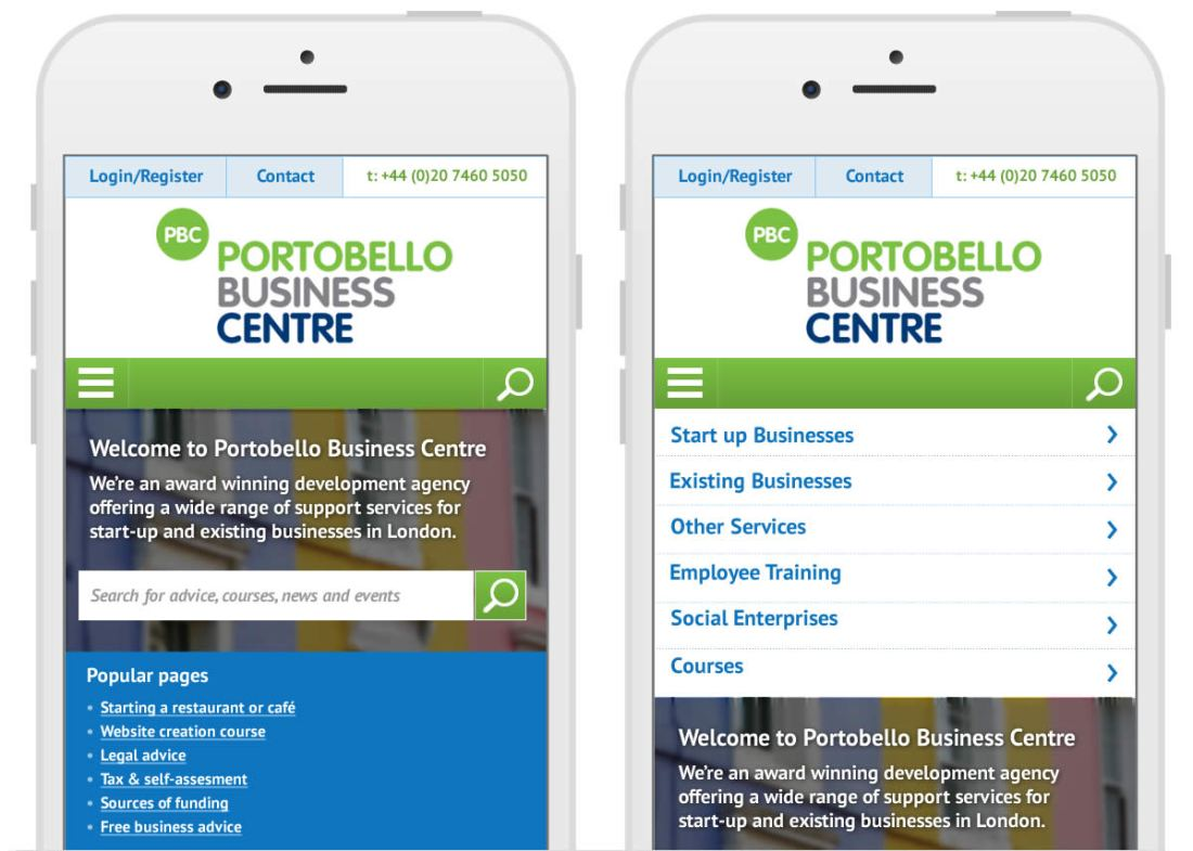 Portobello Business Centre responsive website designs