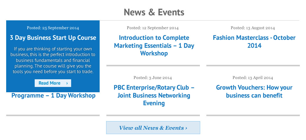 PBC home page news items