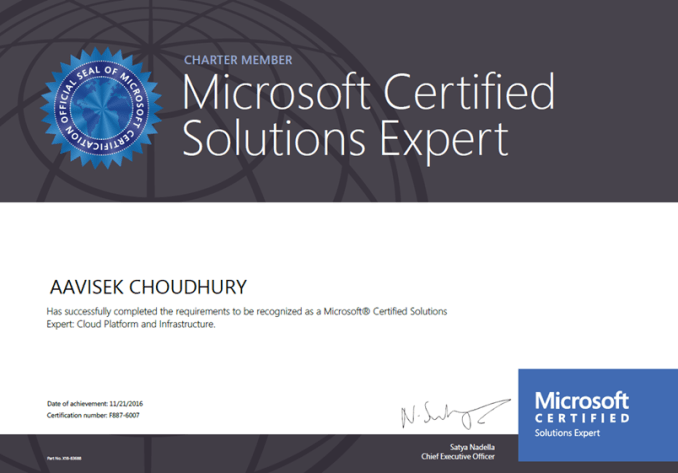 Charter Member Mcse Certificates For The Cloud Platform And