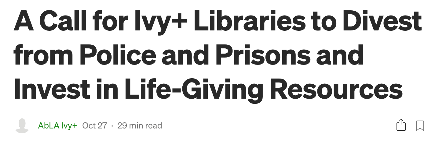 Ivy League librarians call for an end to all policing