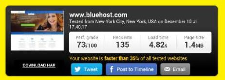 bluehost review speed test