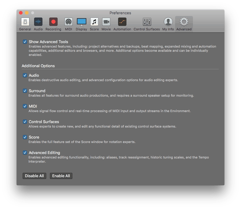 Logic Pro X Advanced Features Enabled