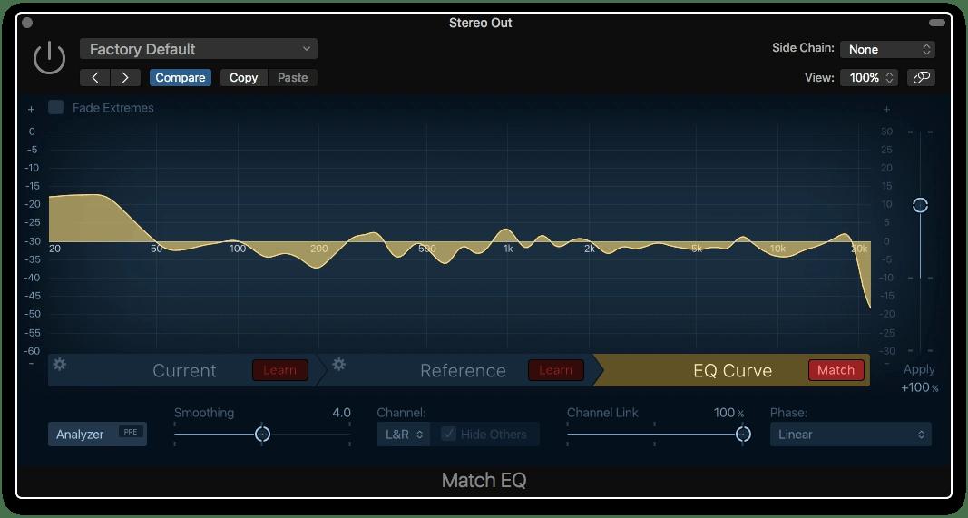 Logic Pro X Match EQ Reference matched