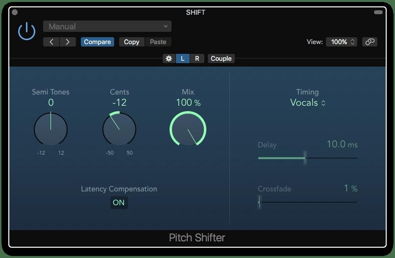 Logic Pro X Pitch Shifter Dual Mono