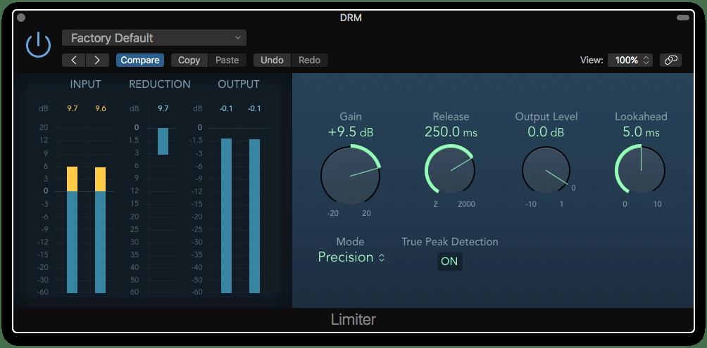 Logic Pro X Limiter